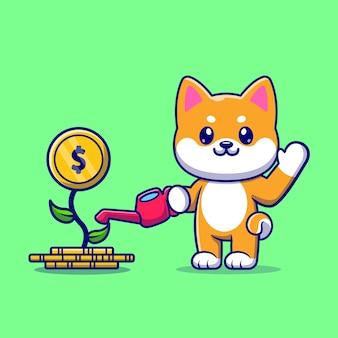 Cão bonito shiba inu rega planta dinheiro ilustração vetorial ícone dos desenhos animados. conceito de ícone de negócio animal isolado vetor premium. estilo flat cartoon