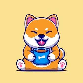 Cão bonito shiba inu segurando a xícara de café quente ícone dos desenhos animados.