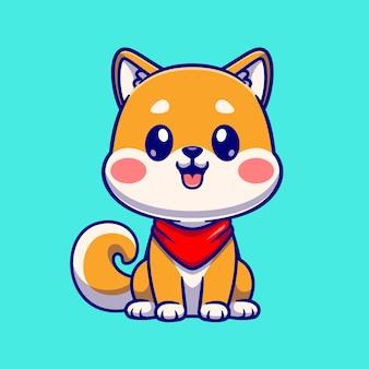 Cão bonito shiba inu sentado desenho animado ícone ilustração vetorial. conceito de ícone de natureza animal isolado vetor premium. estilo flat cartoon