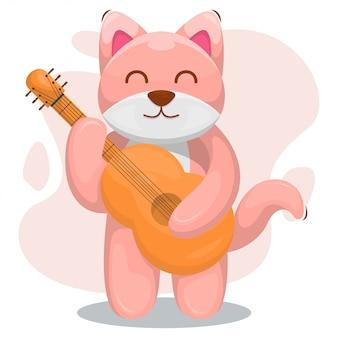 Cão bonito tocar desenho animado de guitarra