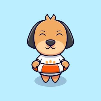 Cão bonito vestindo uma ilustração do ícone dos desenhos animados do colete salva-vidas. estilo flat cartoon