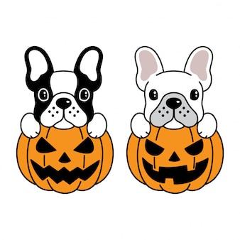 Cão buldogue francês abóbora de halloween