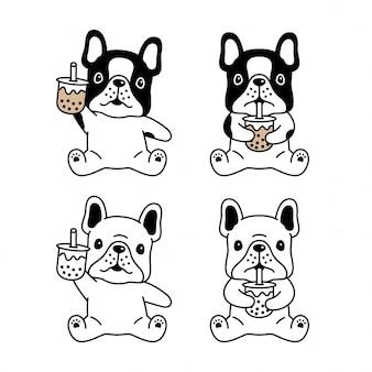 Cão buldogue francês boba leite chá