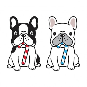 Cão, buldogue francês, cana doce, ilustração