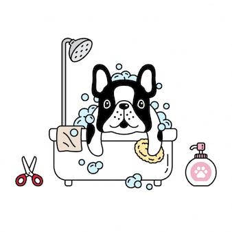 Cão buldogue francês chuveiro banheiro desenhos animados