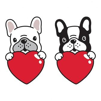 Cão buldogue francês coração valentim