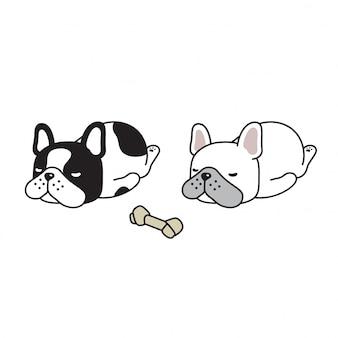 Cão, buldogue francês, dormir, caricatura