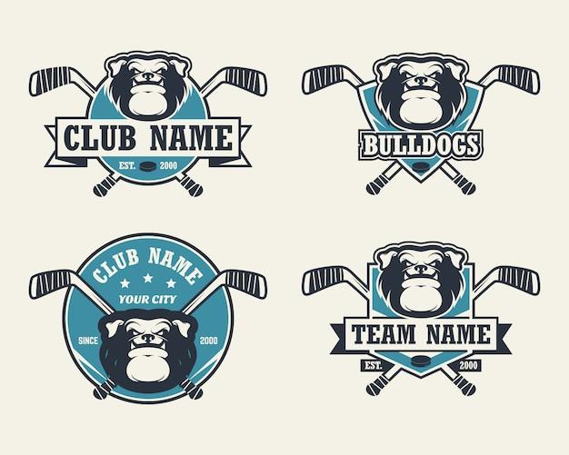 Cão bulldog cabeça esporte logo. conjunto de logotipos de hóquei.