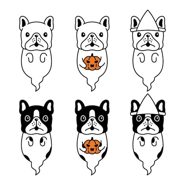 Cão bulldog francês fantasma assustador desenho animado