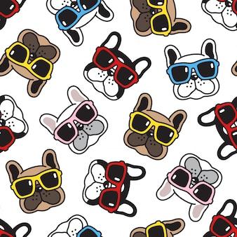 Cão bulldog francês padrão sem emenda óculos de sol
