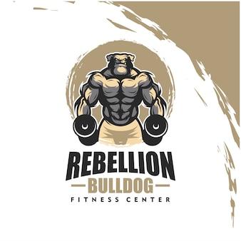 Cão bulldog k9 com corpo forte, clube de fitness ou logotipo da academia. elemento de design para o logotipo da empresa, etiqueta, emblema, vestuário ou outras mercadorias. ilustração escalável e editável