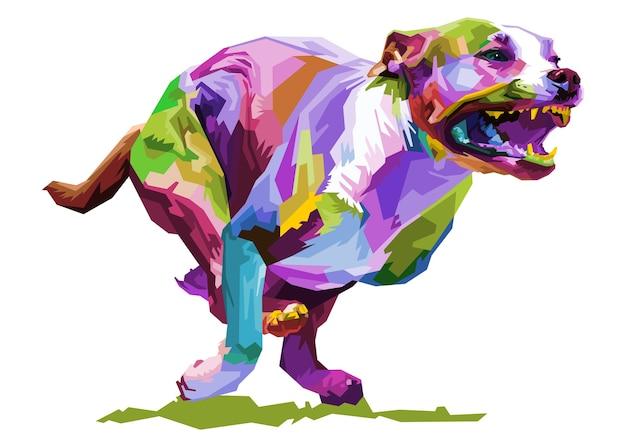 Cão colorido correndo isolado, estilo pop art. ilustração