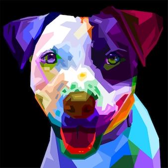 Cão colorido de boston terrier no estilo pop art. ilustração.