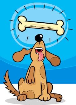 Cão com desenhos animados ósseos