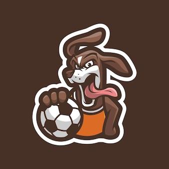 Cão com design de logotipo de mascote de bola
