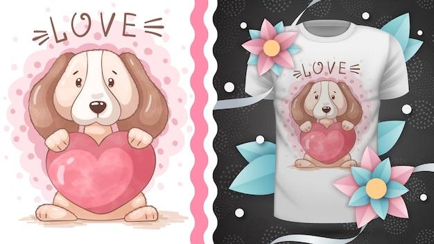 Cão com ilustração de desenho de coração para impressão de t-shirt