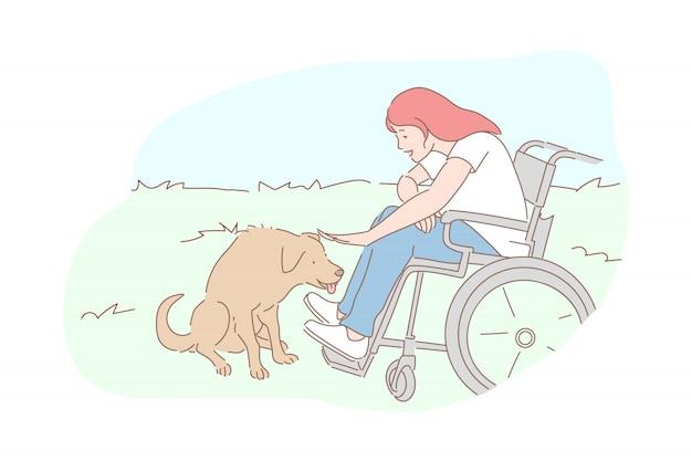 Cão com ilustração de menina com deficiência