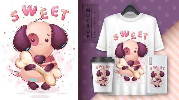 Cão com merchandising ósseo