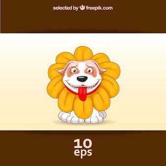 Cão com um traje da flor