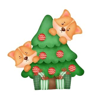 Cão corgi aquarela bonito dos desenhos animados com árvore de natal para cartão de natal.