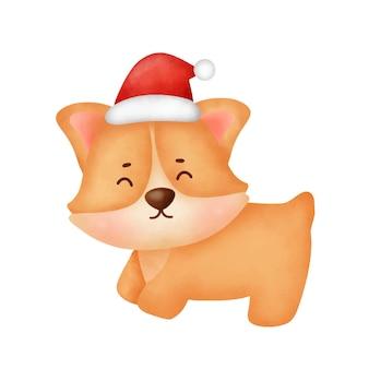 Cão corgi aquarela bonito dos desenhos animados com chapéu de papai noel para cartão de natal.