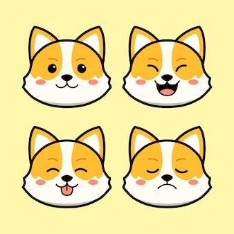 Cão corgi bonito com conjunto de animais de expressão do rosto