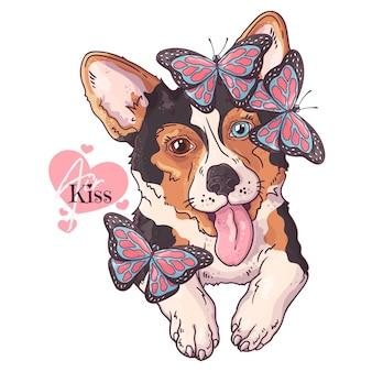 Cão corgi desenhado à mão com borboletas
