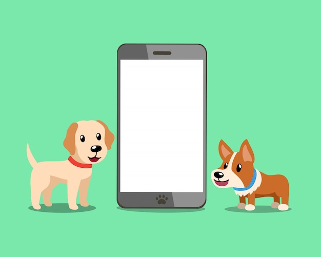 Cão corgi e cão labrador retriever com smartphone