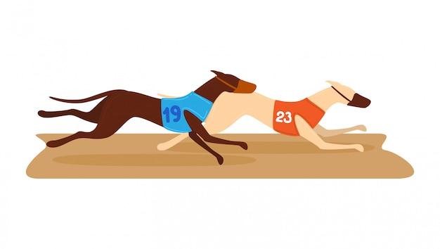 Cão da competição que corre, redondo do cão de fuga da competição isolado no branco, ilustração dos desenhos animados. corrida de animais do torneio de apostas de dinheiro.