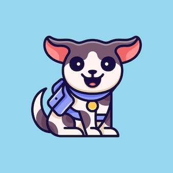 Cão de aventura para etiqueta do logotipo do ícone de personagem e ilustração