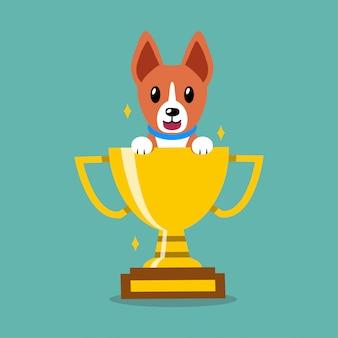 Cão de basenji de personagem de desenho animado com prêmio de copa troféu de ouro