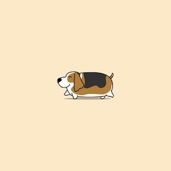 Cão de basset gordo andando ícone dos desenhos animados