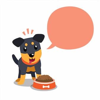Cão de caça alemão de personagem de desenho animado e bolha do discurso