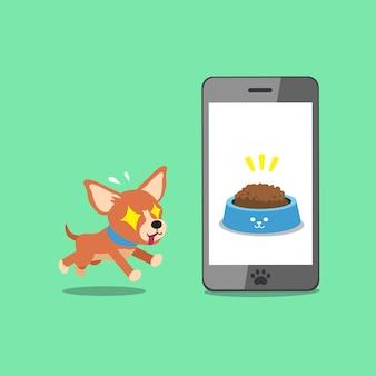 Cão de chihuahua bonito personagem de desenho animado e smartphone
