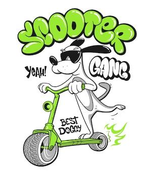 Cão de desenho animado andando de scooter com desenho de camisa