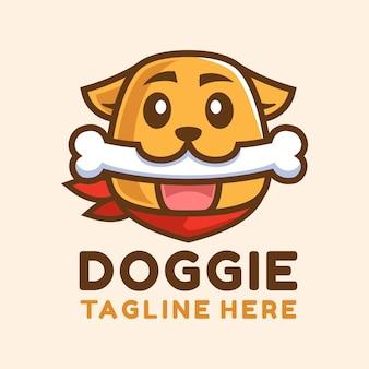 Cão de desenho animado com design de logotipo de osso branco