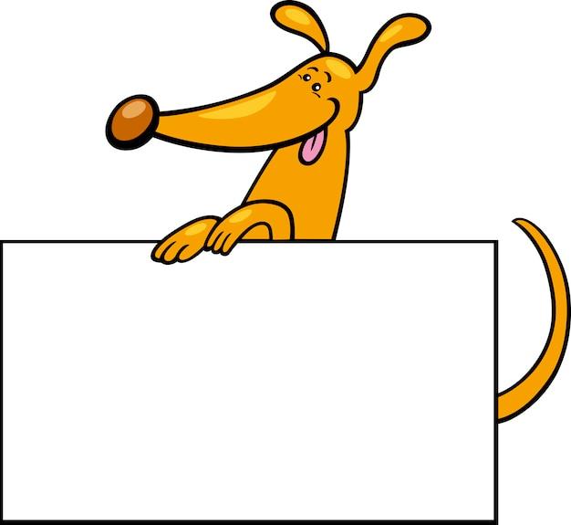 Cão de desenho animado com placa ou cartão