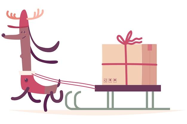 Cão de entrega de natal fantasiado de rena com ilustração de desenho animado de trenó e caixa de presente