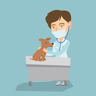 Cão de exame veterinário caucasiano novo.