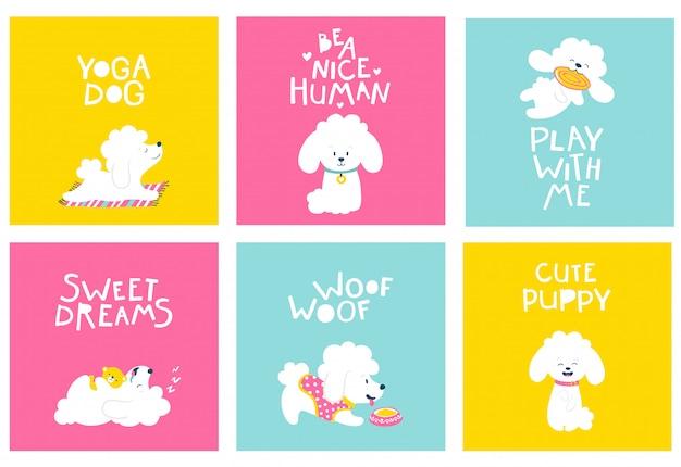 Cão de filhotes. conjunto de cartões postais amigáveis com um poodle. ilustração dos desenhos animados de um animal branco em fundos brilhantes, em um estilo simples desenhado à mão infantil