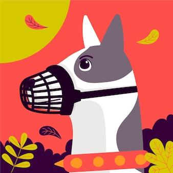 Cão de focinho achatado ilustrado