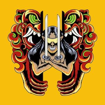 Cão de foo com ilustração vetorial de samurai