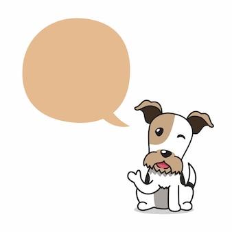 Cão de fox terrier de fio de personagem de desenho animado com balão para design.