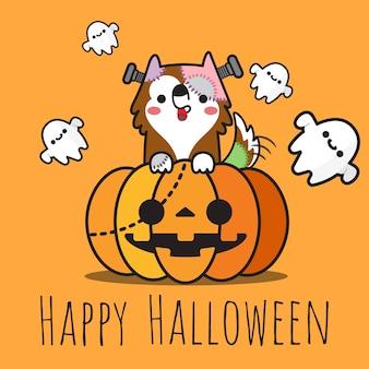 Cão de heppy halloween na abóbora e nos fantasmas que voam ao redor.