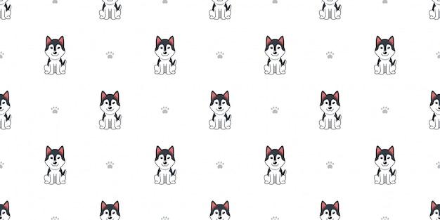 Cão de husky siberiano de personagem de desenho animado sem costura de fundo