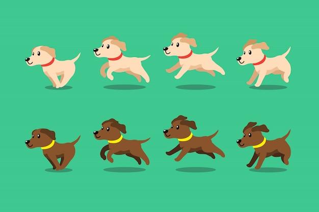 Cão de labrador retriever de personagem de desenho animado executando o passo
