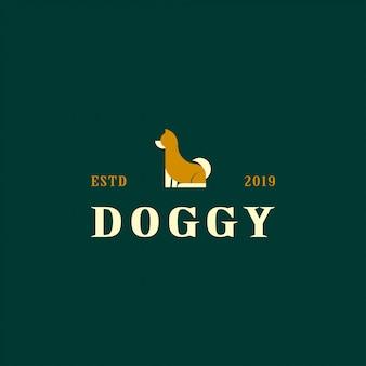 Cão de logotipo com conceito plana