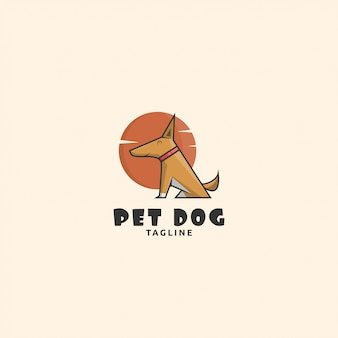Cão de logotipo de ícone com forte golpe