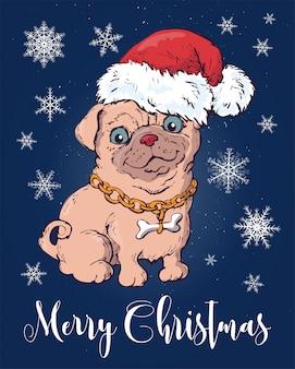 Cão de natal em chapéu de duende de papai noel