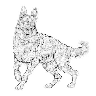 Cão de pastor alemão desenhado de mão
